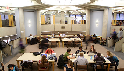 Image of students studying in the Northwestern library.